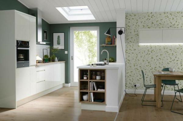 boya mutfak renk fikirleri modern mutfak tasarım alanları beyaz mobilya izole yeşil duvar boyası
