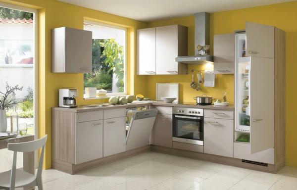 boya mutfak renk fikirleri sarı duvarlar açık zemin güzel mutfaklar