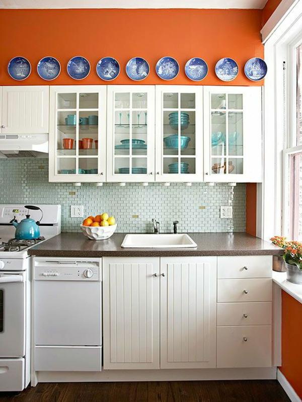 boya mutfak renk fikirleri beyaz mutfak mobilyası turuncu duvarlar güzel mutfaklar