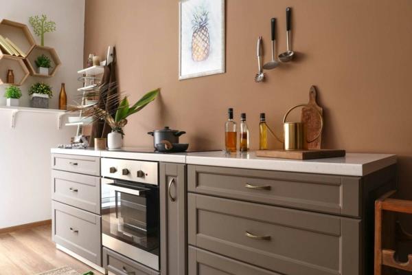 mutfak boya renk fikirleri rahat mutfak fikirleri kahverengi duvarlar