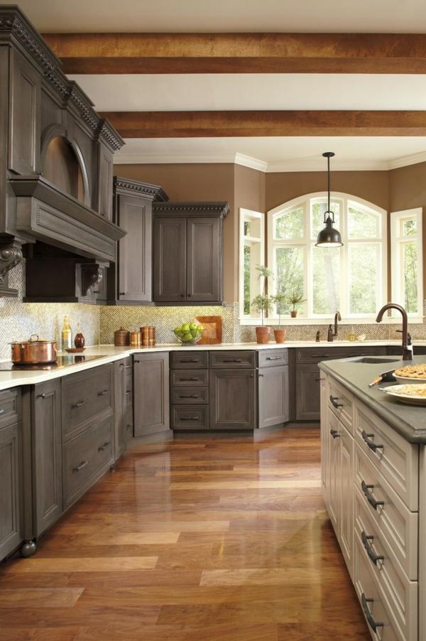 boya mutfak renk fikirleri büyük mutfak kur kahverengi duvarlar gri mutfak mobilyası