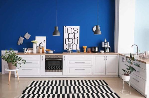 boya mutfak renk fikirleri modern mutfak mavi duvar boyası mutfak güzel mutfaklar