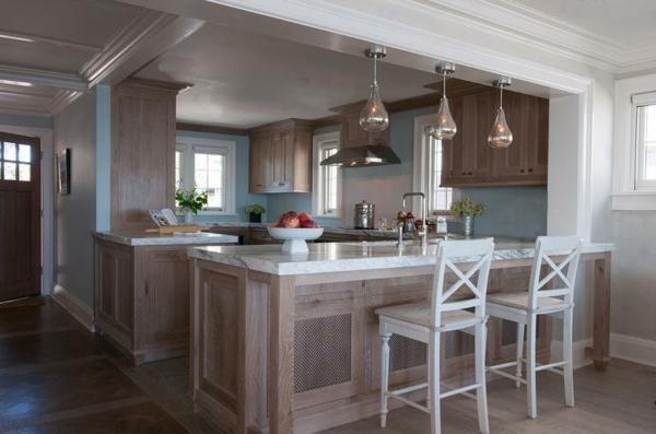 boya mutfak renk fikirleri güzel mutfaklar mavi duvar boyası serin asılı ışıklar