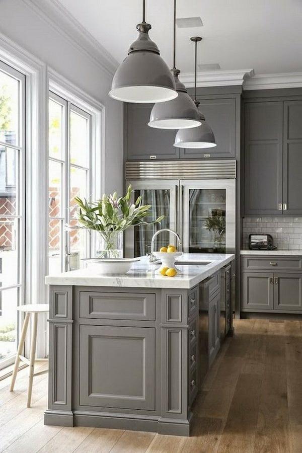 boya mutfak renk fikirleri duvar boyası mutfak mutfak mobilyası gri asılı lambalar