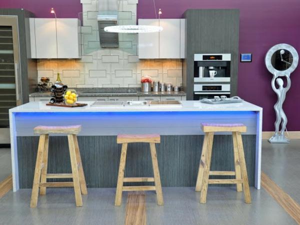boya mutfak boya fikirleri duvar boyası mutfak mor ışıklı mutfak adası