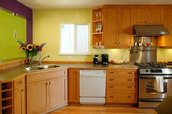 boya mutfak renk fikirleri renkli mutfak ekipmanı ahşap mobilya