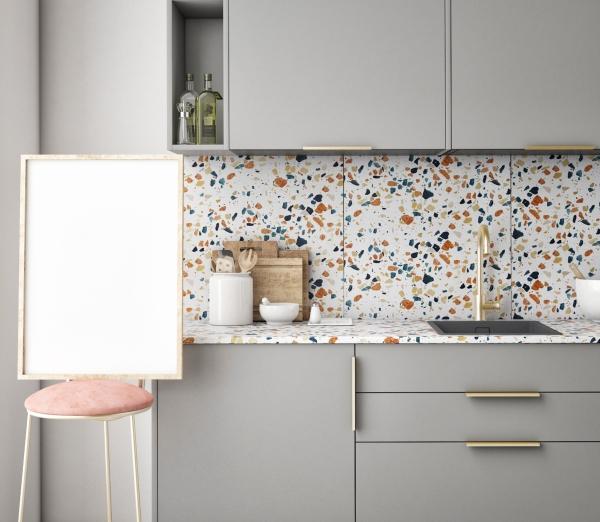 Terrazzo Fayans Mutfakta kullanılıyor