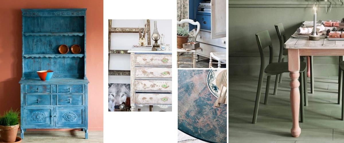 Rustik görünümlü tebeşir boyalı mobilyalar