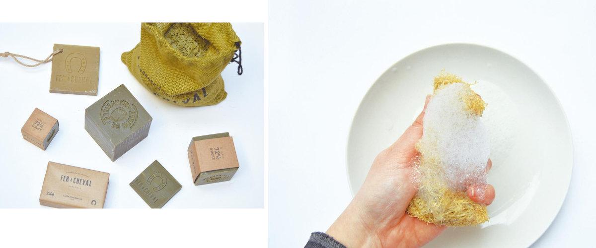 Luffa ovucu ve Marsilya sabunu