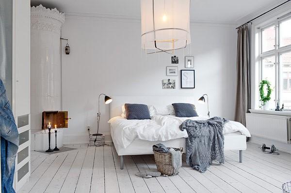 İskandinav tarzı yatak odası