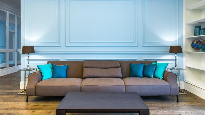 oturma odası mavi duvar