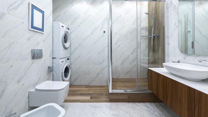 çamaşır ve kurutma makinesi bulunan banyo