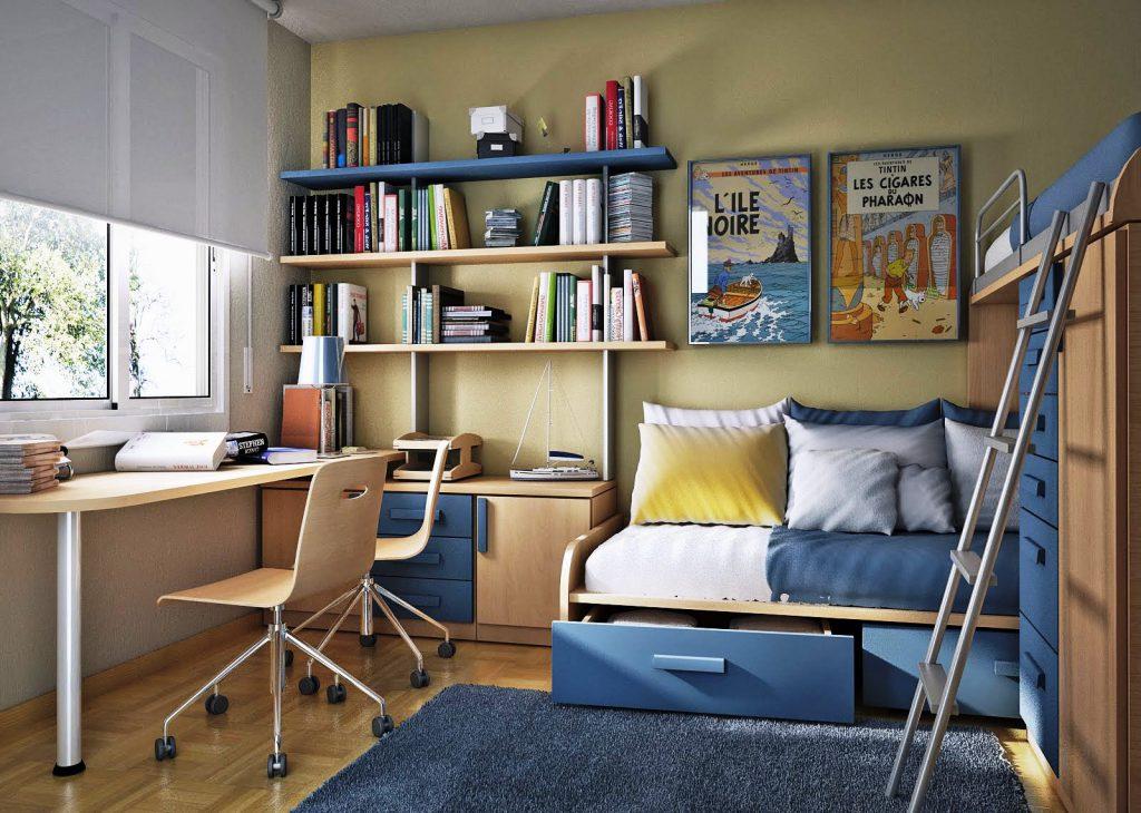 Çocuk odasında bej ve mavi mobilyalar